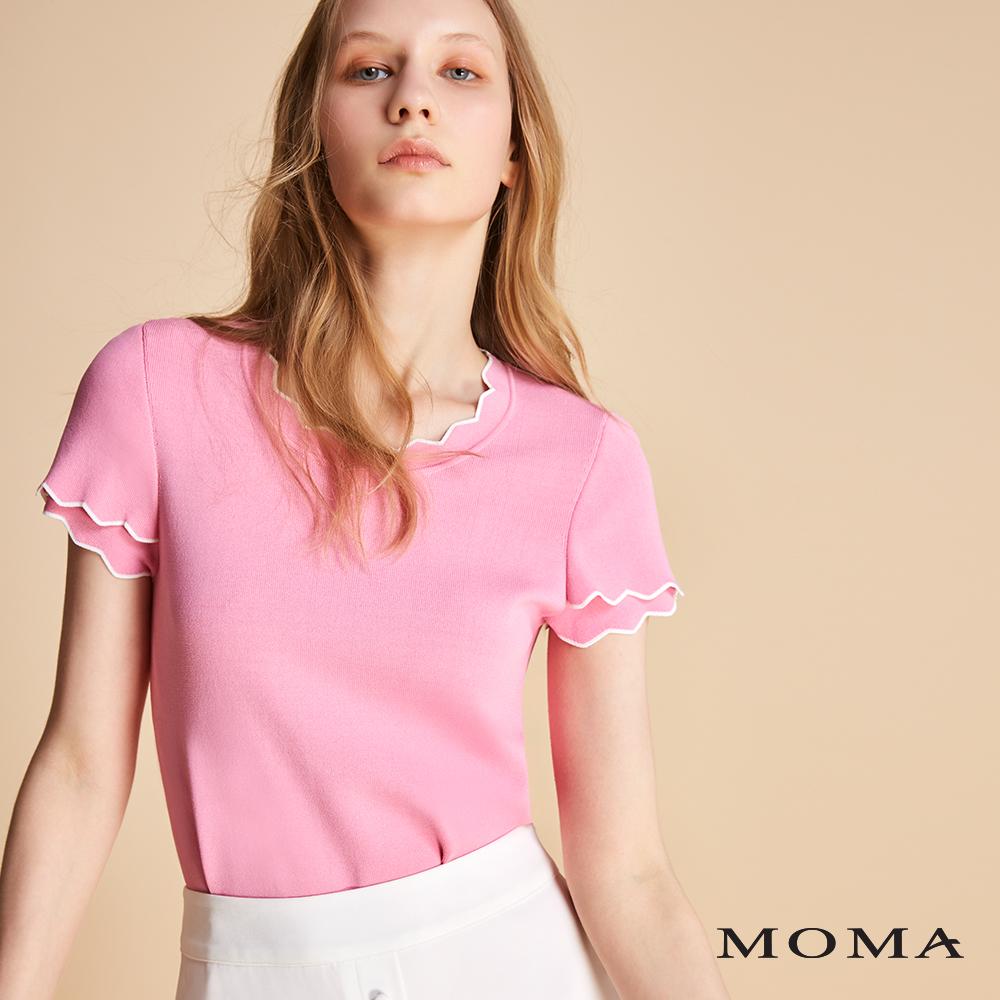 MOMA 跳色滾邊針織上衣