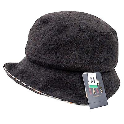 DAKS 日本製抗UV科技纖維格紋滾邊LOGO字母刺繡蝴蝶結漁夫帽(黑灰)