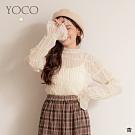 東京著衣-YOCO 經典魅力雪紡竹節蕾絲喇叭袖上衣