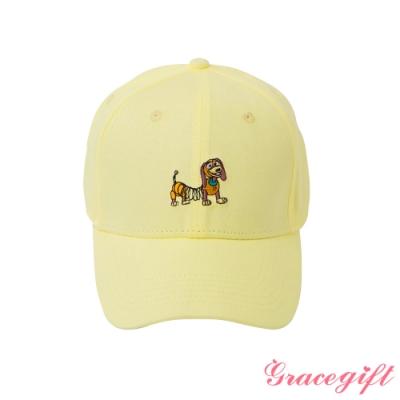 Disney collection by gracegift-玩總彈簧狗電繡棒球帽 淺黃