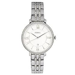FOSSIL 美國精品手錶 Jacqueline晶鑽白錶盤x銀錶框金屬錶帶36mm