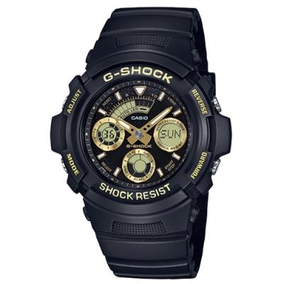 CASIO 卡西歐G-SHOCK三眼雙顯休閒腕錶-金色(AW-591GBX-1A9)