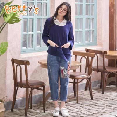 betty's貝蒂思 貓咪繡線拼布男友褲(牛仔藍)