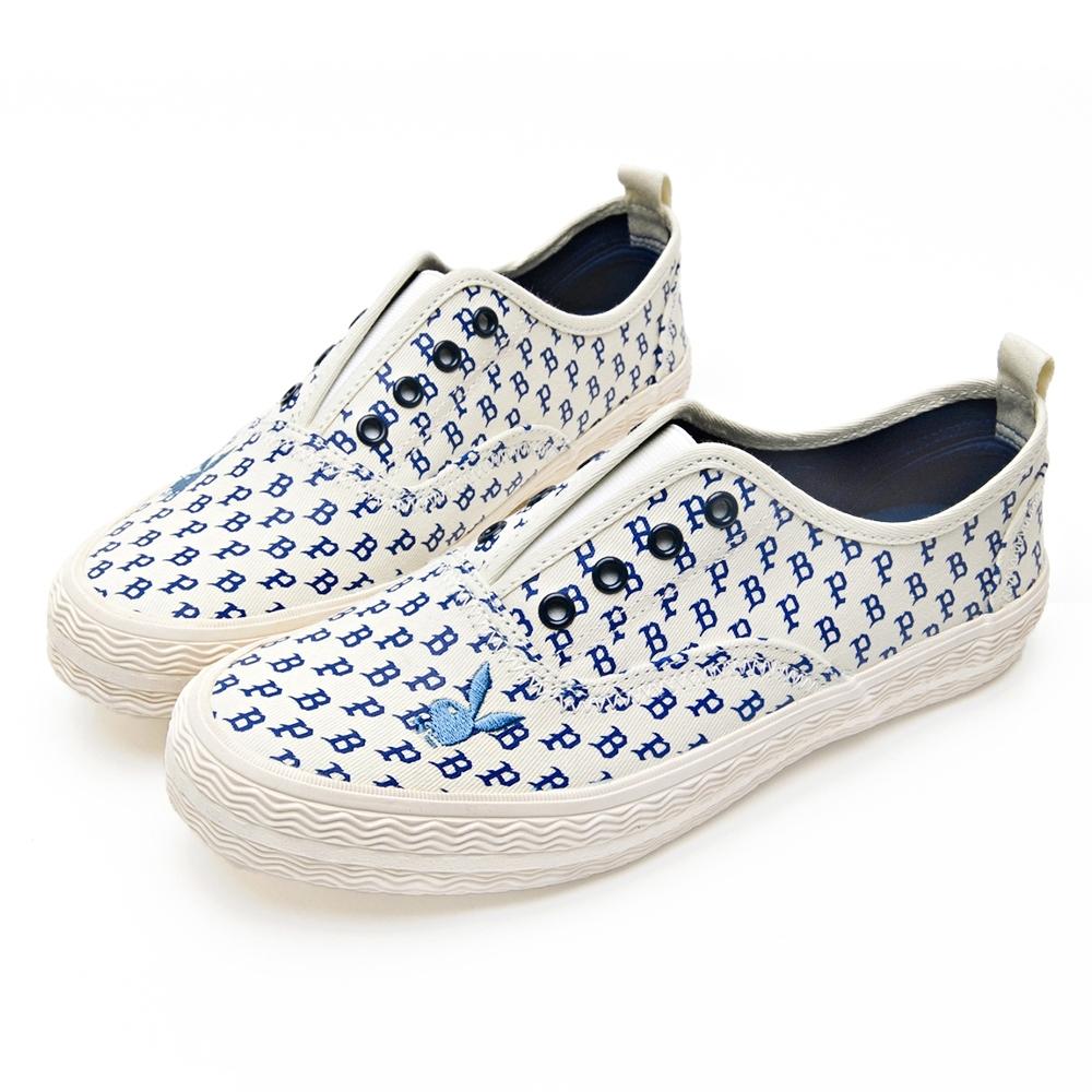 PLAYBOY玩色滿版PB印花懶人鞋-白藍-Y62091F
