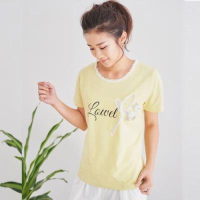 【白鵝buyer】 珍珠拼接立體銀色小鹿T恤_鵝黃