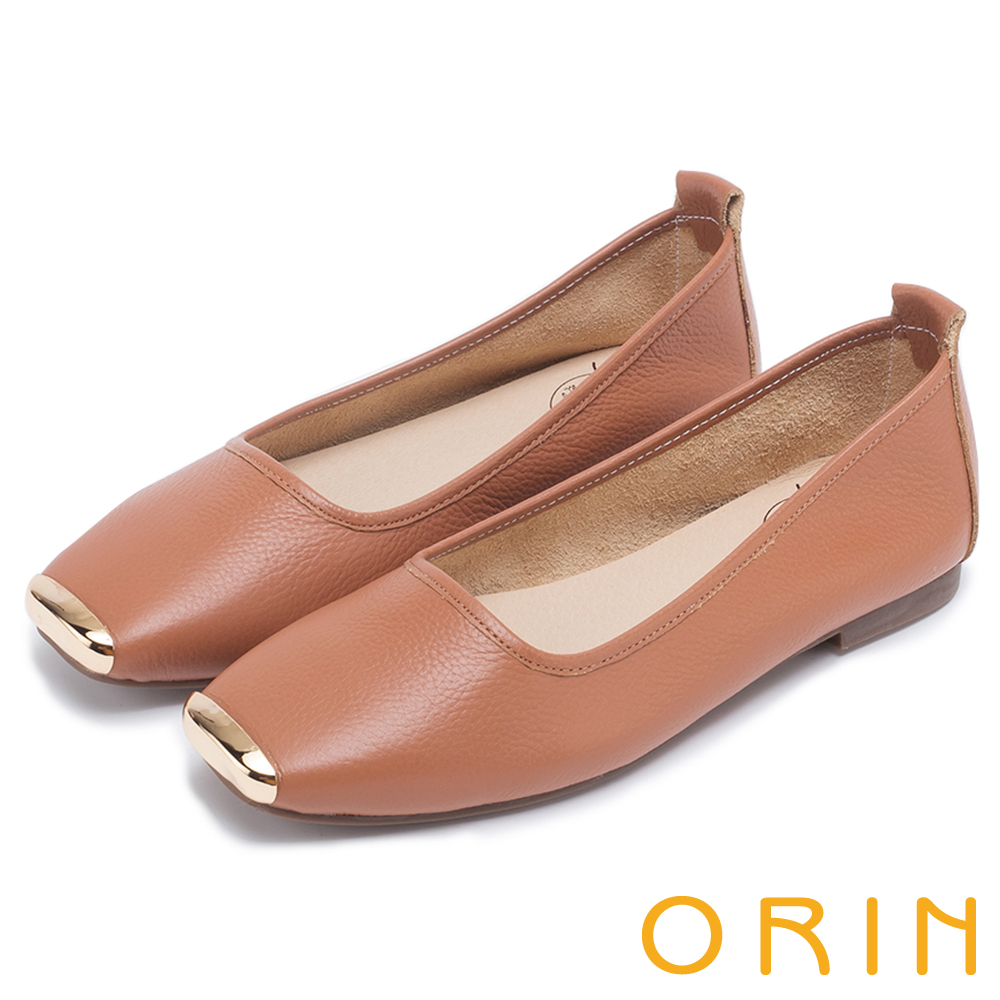 ORIN 率性簡約 金屬方頭牛皮平底鞋-棕色