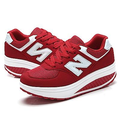 韓國KW美鞋館 明星同款輕軟記憶鞋墊健走鞋-紅色
