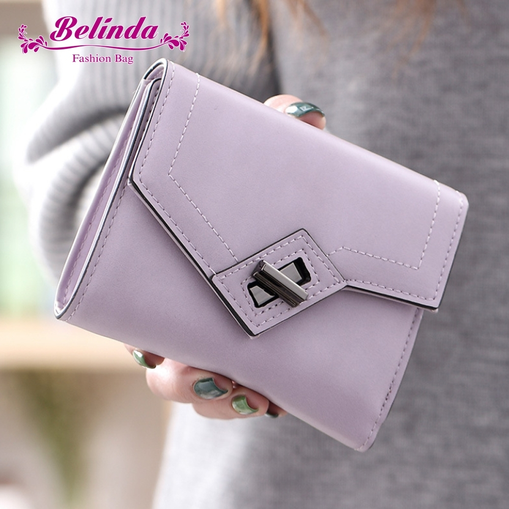 【Belinda】萊蒂拉霧感斜轉扣多格層短夾(紫色)