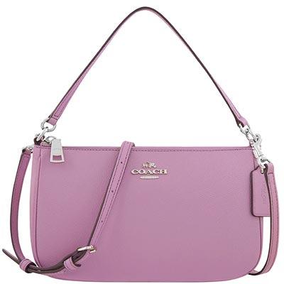 COACH 粉紫色防刮皮革手提/斜背包
