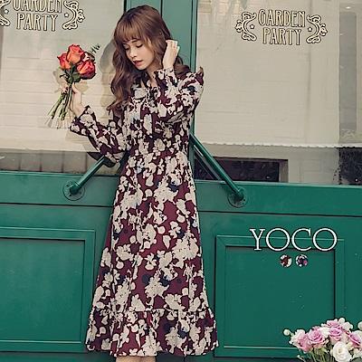 東京著衣-yoco 韓國小姐姐綁帶縮腰荷葉拼接印花洋裝-S.M.L(共二色)