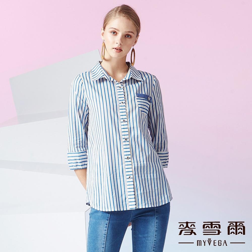MYVEGA麥雪爾 純棉單口袋條紋七分袖襯衫-藍