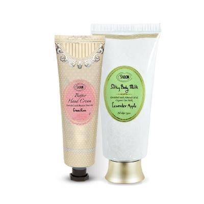 SABON 買絲綢身體乳送極潤護手霜 香蘋薰衣草 200ml+以色列綠玫瑰 75ml