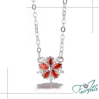 iSFairytale伊飾童話 熱戀櫻花 紅水晶銅電鍍項鍊