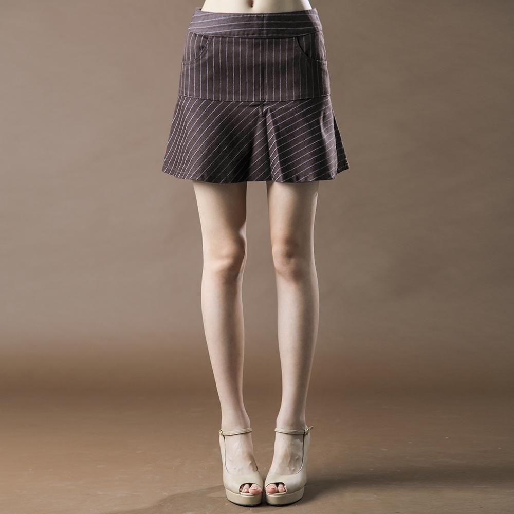 BIG TRAIN 低腰伸縮直條波浪裙-女-咖啡