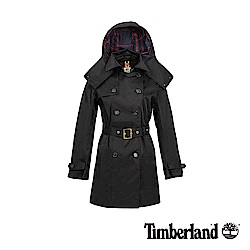 Timberland 女款黑色防水雙排釦綁帶經典風衣|B3101
