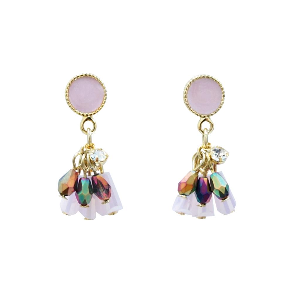 Prisme 美國時尚飾品 粉紅水晶浪漫 金色耳環