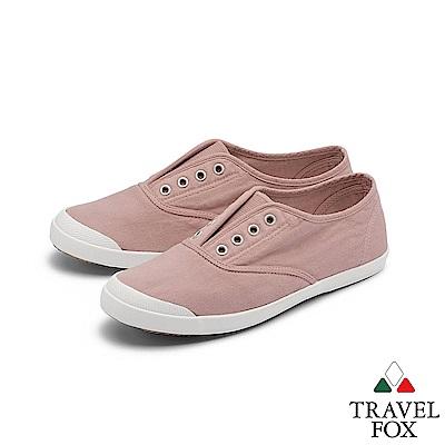TRAVEL FOX(女) 温柔 無帶式水染漂洗素人帆布鞋 - 輕暈粉