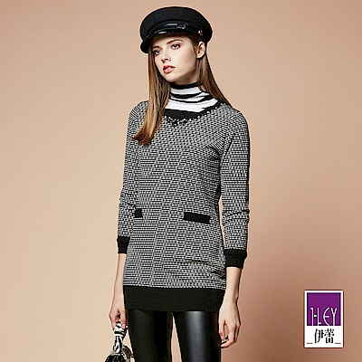 ILEY伊蕾 條紋配色羊毛混紡長版毛衣(黑)