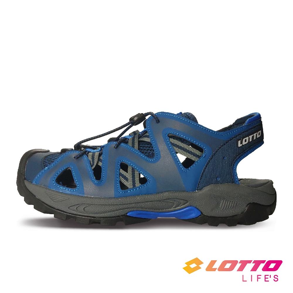 LOTTO 義大利 男 護趾戶外健走涼鞋(藍)
