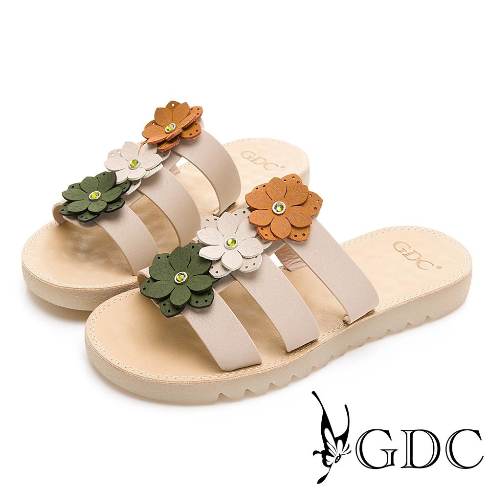 GDC-春夏田園撞色小花鑽舒適一字拖鞋-米色