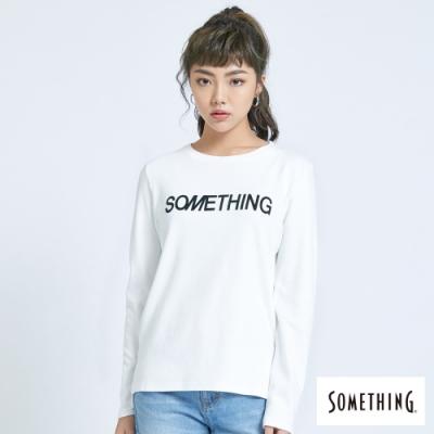 SOMETHING 馬毛LOGO印花 薄長袖T恤-女-白色