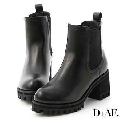 D+AF 歐美風尚.厚底高跟切爾西短靴*黑