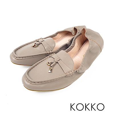 KOKKO- 最美的風景柔軟羊皮莫卡辛便鞋-霧感灰