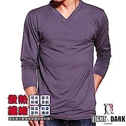 LIGHT & DARK 發熱蓄暖男V領保暖衣(黑/藍/灰各1件_共3件組)