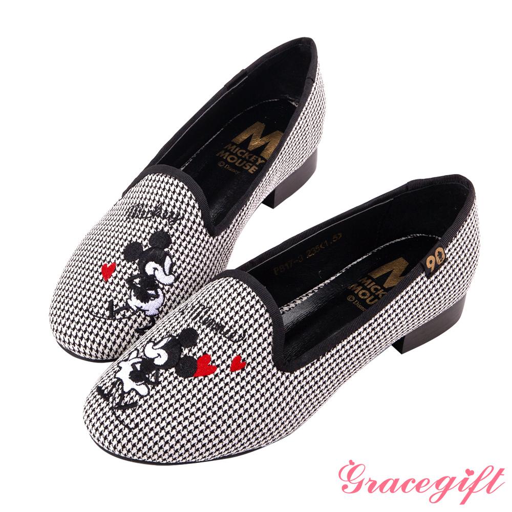 Disney collection by grace gift經典年代復古樂福鞋 黑格
