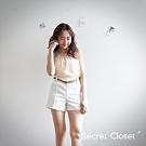 Secret Closet-挺版直紋短褲(附腰帶)-白色