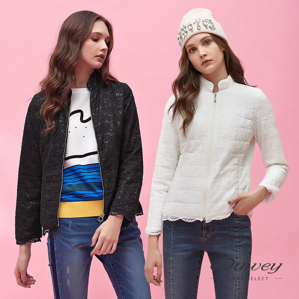 OUWEY歐薇 花卉蕾絲小立領鋪棉外套(黑/白) @ Y!購物