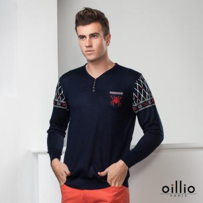 oillio歐洲貴族 長袖針織線衫 頂級天絲棉 超柔抗起球 V領款式 丈青色