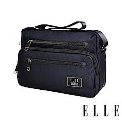 ELLE 城市都會休旅系列-多隔層收納休閒橫式斜背/側背包-深藍 EL83493