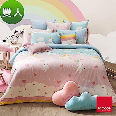 La Mode寢飾 親親獨角獸環保印染100%精梳棉兩用被床包組(雙人)