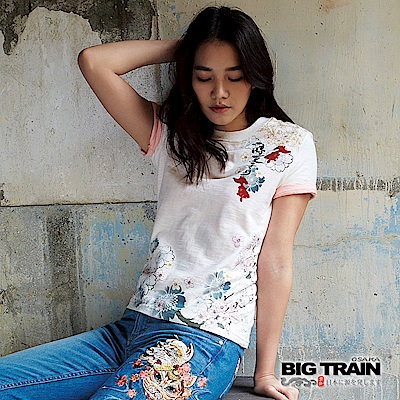 BIG TRAIN 涼夏金魚圓領短袖-女-芽白
