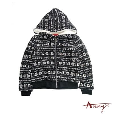 Annys聖誕雪花圖騰保暖鋪棉外套*1456黑