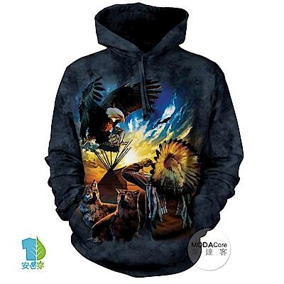 摩達客 美國The Mountain 和平印地安狼與鷹 中性套頭長袖連帽T恤