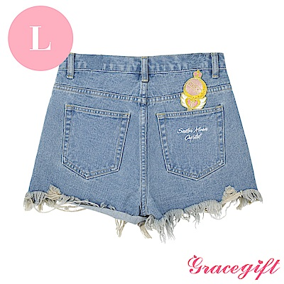 Grace gift-美少女戰士聯名抽鬚牛仔短褲 淺藍L