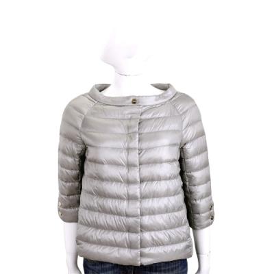 HERNO 灰銀色七分袖短版絎縫設計羽絨外套
