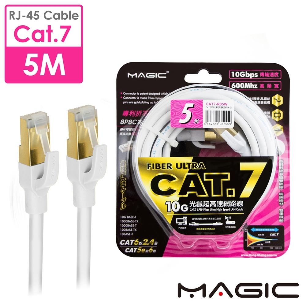 MAGIC Cat.7 SFTP圓線26AWG光纖超高速網路線(專利折不斷接頭)-5M