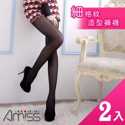 Amiss 細格紋造型褲襪2入組(1133-19)