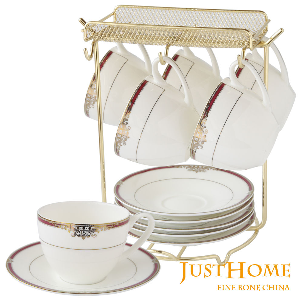 Just Home蓓斯特高級骨瓷6入咖啡杯盤組附收納架(附禮盒)