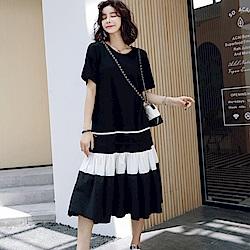 MOCO圓領下擺拼接蛋糕裙擺層次長版洋裝
