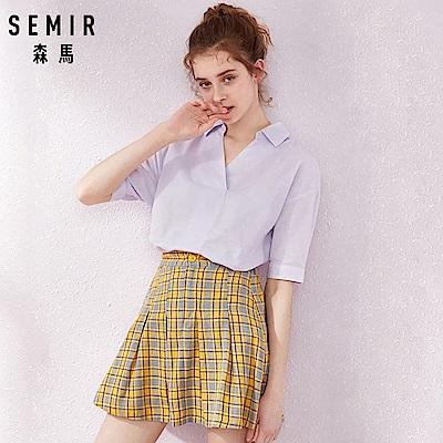 SEMIR森馬-優雅復古風格V領素色上衣-女(3色)