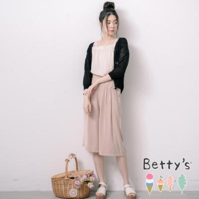 betty's貝蒂思 甜美前壓摺蝴蝶結雪紡褲(駝色)