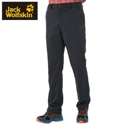 【Jack Wolfskin 飛狼】男 俐落修身內磨毛彈性休閒長褲『黑色』