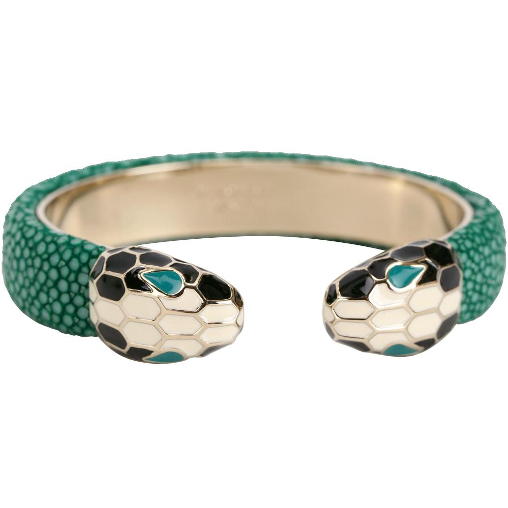BVLGARI 寶格麗 Serpenti Forever 雙蛇頭翡翠綠珍珠魚皮金屬手環