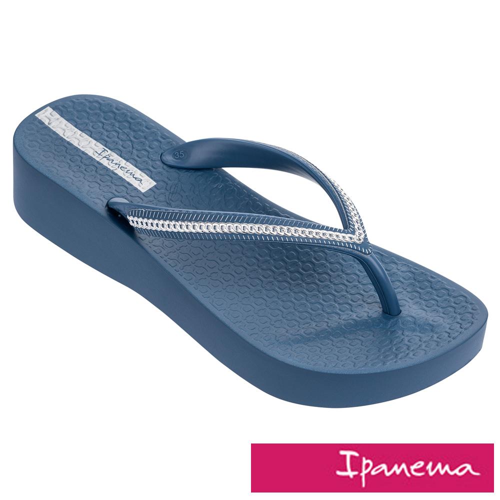IPANEMA 網格織帶厚底人字拖鞋-藍