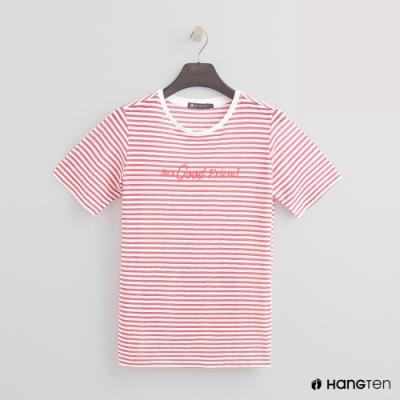 Hang Ten -女裝 - 糖果配色橫條紋短T - 粉
