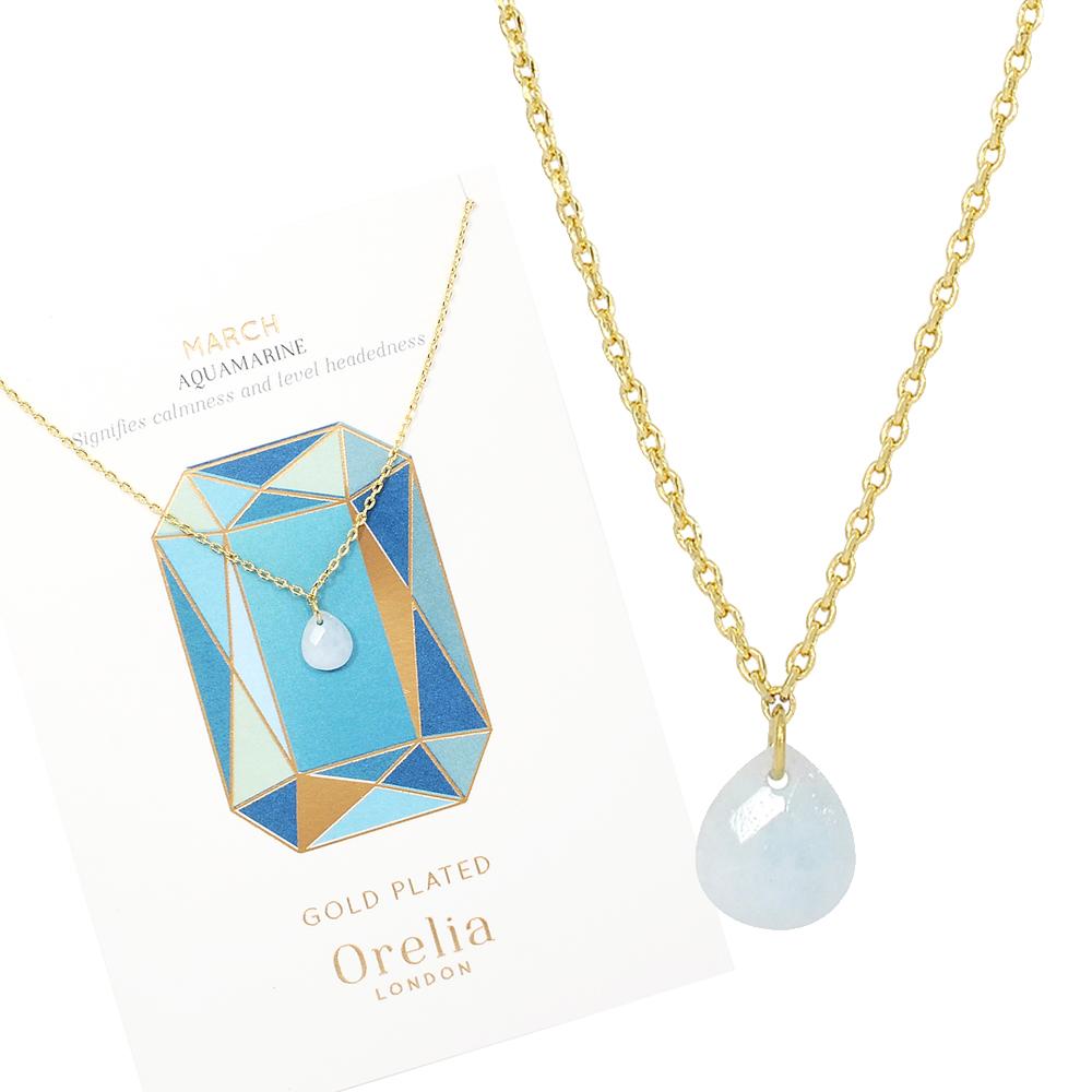 Orelia英國品牌 三月海藍寶石誕生石金色項鍊